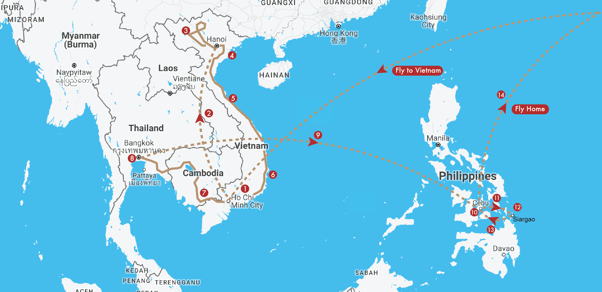 Southeast Asia Travel Itinerary Map